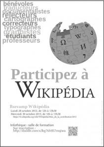 Affiche barcamps Wikipédia 2013 à la HEG