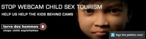 """""""Stop webcam child sex tourism"""", affiche de présentation de l'initiative de Terre des Hommes présentant le visage de Sweetie, fillette virtuelle créée pour piéger les cyberpédophiles"""